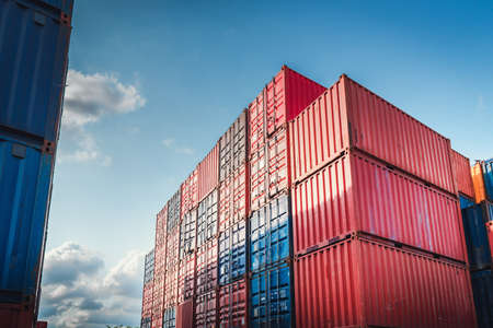 Stack of Containers Cargo Ship Import/Export in Harbor Port, Cargo Freight Shipping of Container Logistics Industry. Nautical Transport Distribution Yard, Business Commercial Dock and Transportation. Imagens