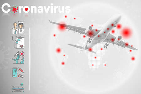 Coronavirus Crisis and Health Prevention From Covid-19 Virus of Public Airplane Aviation, Medical Covid Pandemic Guideline Template for Passenger of Transportation Airline. Healthcare/Medicine Concept