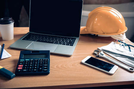 Architect or Engineer for Working Workspace Table Desk, Business Construction Industry and Engineering Design Concept. Architecture Building Designer Office Workplace With Equipment Tools on a Tables.