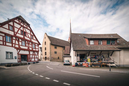 Cityscape Old Town and Historic Buildings of Stein Am Rhein City, Switzerland, Beautiful Ancient Church and Architecture of Swiss Culture at Daylight. Travel Historical and Famous Place of Switzerland
