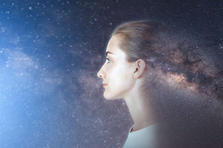 Futuristic Goal and Solution Think Tank Concept, Double Exposure Overlay Images of Attractive Woman Portrait With Galaxy Space Planet Earth. Inspiration, Imagination Thinking, and Technology Future Imagens