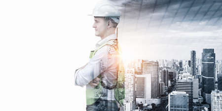 Infrastructure Construction Building and Engineering Futuristic Concept, Double Exposure of Construction Engineer With Modern Architecture City Skyscraper. Future Building Service and Architect Work