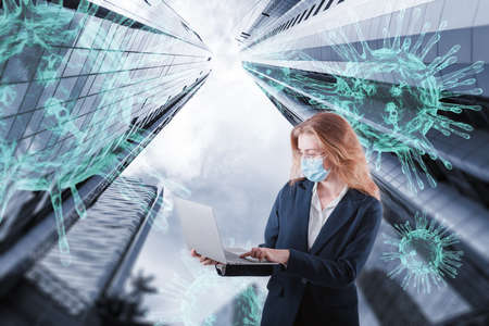 Coronavirus Disease Global Stock Market Effect and Economic Finance Concept, Multi Exposure of Business Woman Analyzing Stock Market on Laptop Against Skyscrapers Background. Coronavirus Pandemic Imagens