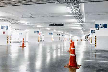 Car Parking Lot Floor Area of Shopping Mall, Perspective View Empty of Car Park Structure Building at Department Store. Auto Service Parking Lots Flooring