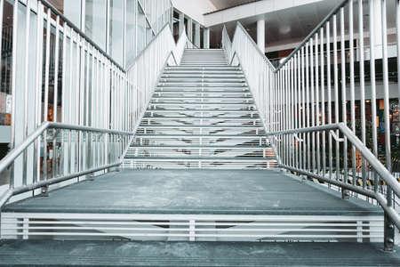 Staircase Stainless Steel of Shopping Mall, Modern Indoor Stairway and Interior Decoration in Shopping Supermarket. Architecture Perspective View of Empty Luxury Metal Steps Staircase