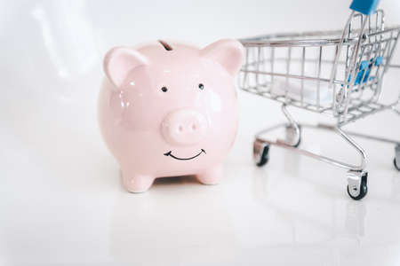 Piggy Bank and Mini Shopping Cart on Isolated Background. Financial Banking Investing and Money Savings Concept. 版權商用圖片