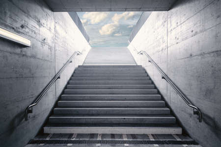 Staircase With Ladder Handrail Structure of Underground Walkway, Perspective Empty Staircase With Structural Concrete Design of Urban Stairway. Detail Entrance and Exit Stair of Underground Street