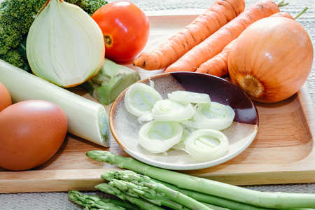 Food Ingredient for Nutrition Healthy Selection, Vegetables and Meat for Good Health Concept. Food Ingredients of Raw Vegetable and Meats Preparation for Cooking. Menu Nutrient Selection for Health