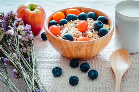 Homemade Granola Muesli Oatmeal for Breakfast Food, Granola With Fresh Fruit and Milk for Breakfast. Natural Baked Muesli and Mixing Fruits for Morning Meals. Diet Granola Homemade Meal for Healthy