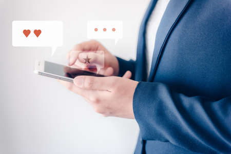 Technology Smartphone and Digital Application Network Concept, Business Woman Using Smart Phone While Chatting on Communication Social App. Multimedia Applications of Data Mobile Phone Connection