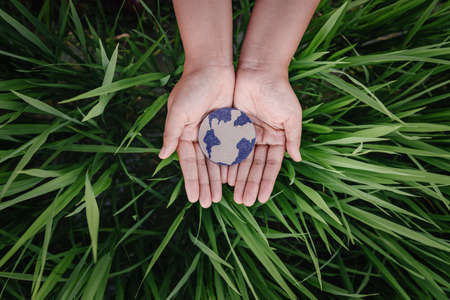 Save The Earth for Sustainable Lifestyles Concept, Protect Planet Earth for Sustainable Resource. Human Hands Holding Globe Symbol on Grass Leaves Background. Earth Day and Sustainability Development.