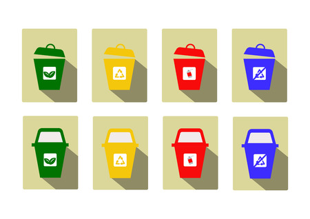 waste separation: type of bin icon for separate kind of garbage