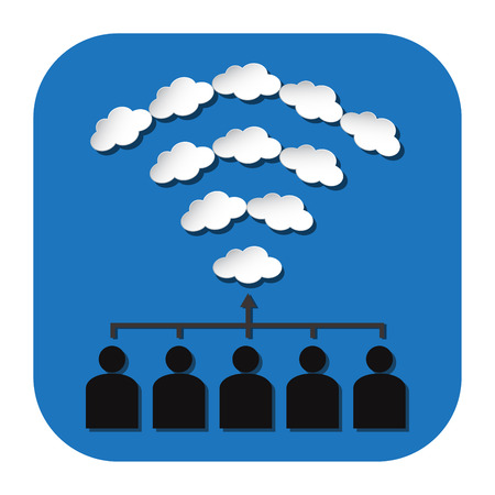 share information: people connection by cloud Wifi for share information Illustration