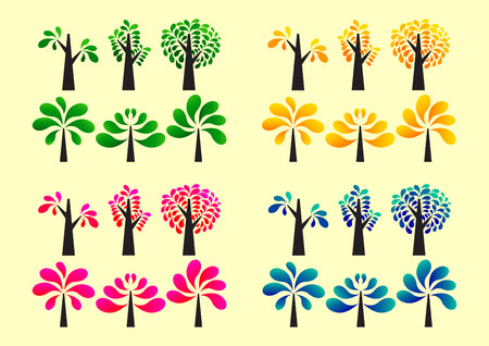 colorful tree: colorful tree style  icon set