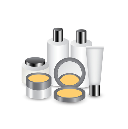 cleanser: cosmetic set with white concept for advertisement