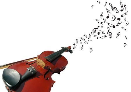 Violin and music notes with clipping path Stock Photo