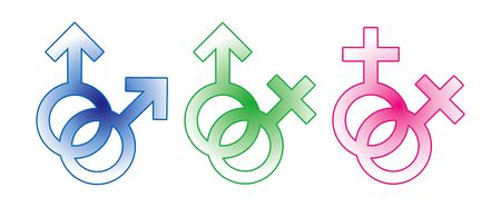 hetero: Sign  symbol of male and female, straight, gay and lesbian. Stock Photo