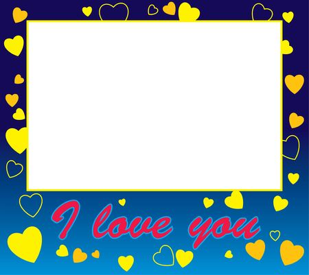 lovebirds: Frame with hearts and love border and the words I Love You Stock Photo