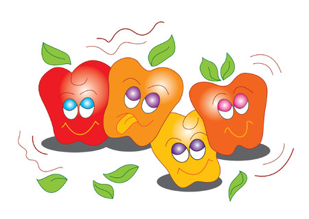 Illustration of happy apples with smiling faces
