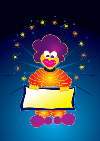 Happy clown holding an empty announcement board Illustration