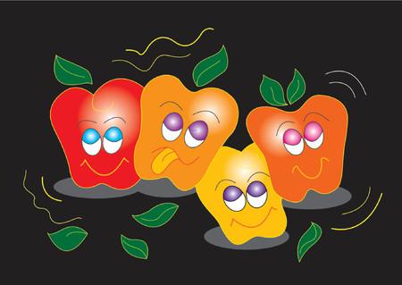 kiddies: Ilustraci�n de manzanas feliz con caras sonrientes