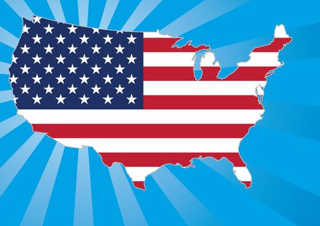 US map with stars and stripes flag Stock Photo - 869235