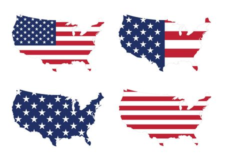 US map with a variety style of stars and stripes flag