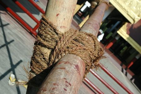 Bamboo secured by strong ropes