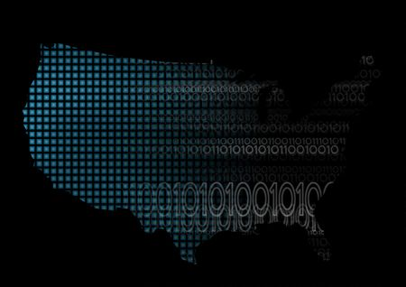 America map with digital binary code