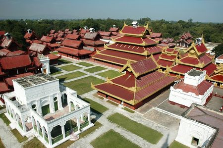 The majestic newly renovated Mandalay Palace (Myanmar) view from tower