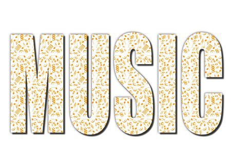 Typography music word made from musical notes isolated with clipping path