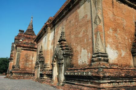 Exterior of an old heritage Buddhist temple in Bagan, Myanmar