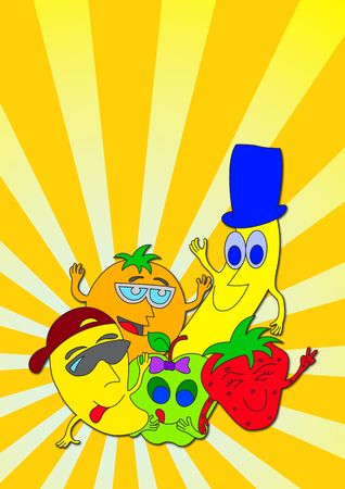 Illustration of happy fruit characters