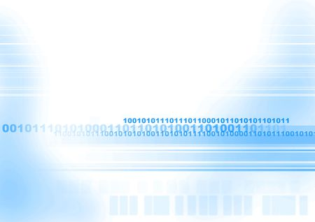 Computer generated digital binary code in futuristic yet simple layout with copyspace