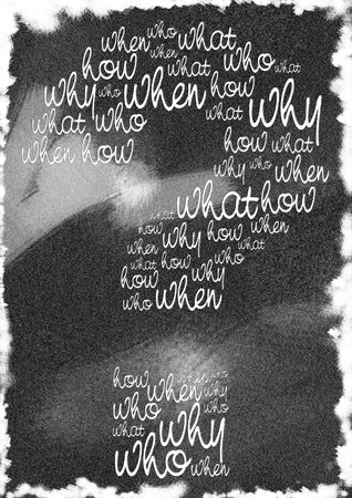 Typography of questions arranged into a question mark photo