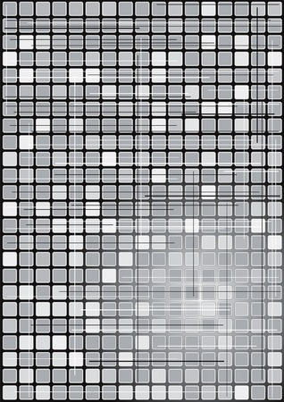 Computer generated illustration of black and white boxes Illustration