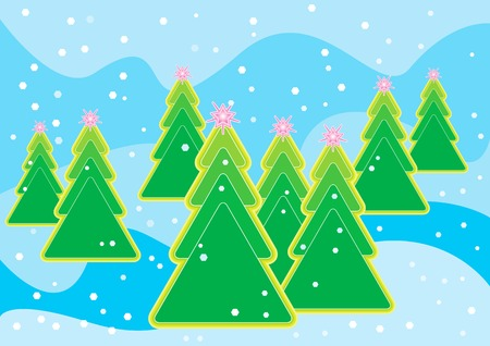 Computer generated illustration of Christmas tree with snowflakes Vector