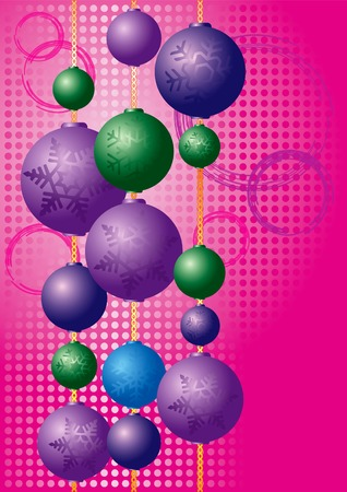 Colorful Christmas ornaments with snowflakes of various sizes