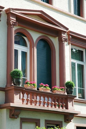 Perspective view of a beautiful and simple decorated balcony Stock Photo