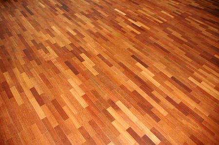 Perspective view of parquet wooden floor plank