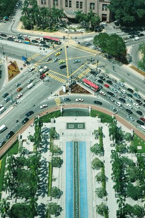 Aeriel view of a busy crossroad intersection in city