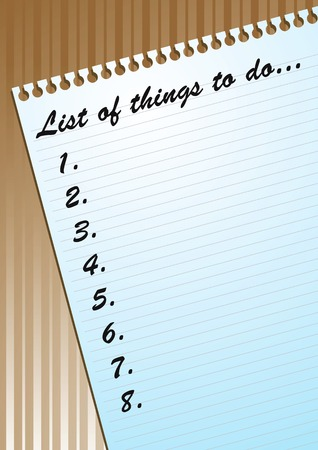 Vector illustration of to-do list on a blank page