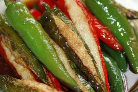 Delicious Asian Chinese cuisine of fish paste stuffed chilli Stock Photo