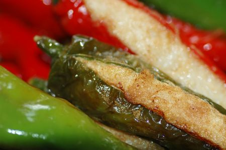 Delicious Asian Chinese cuisine of fish paste stuffed chilli photo