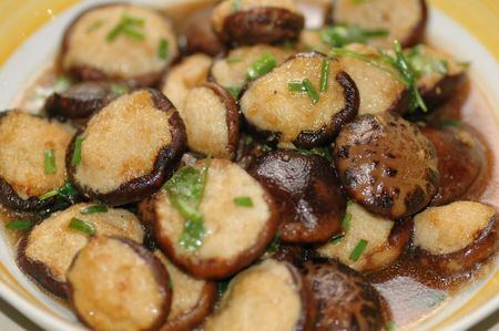 Delicious Asian Chinese cuisine of fish paste stuffed mushroom with parsley