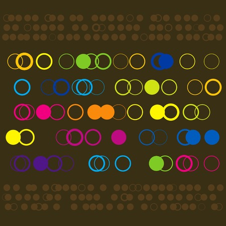 Vector illustration of colorful funky circles design Illustration