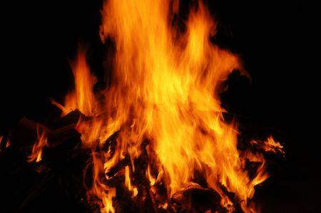 Fiery hot flame blazing with dark background Stock Photo - 4382654