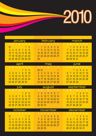 Vector of calendar 2010 with colorful waves on black background