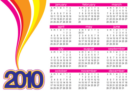 vibrance: Vector of calendar 2010 with colorful waves on white background