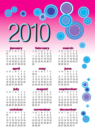 Vector of calendar 2010 with retro bubble on white background
